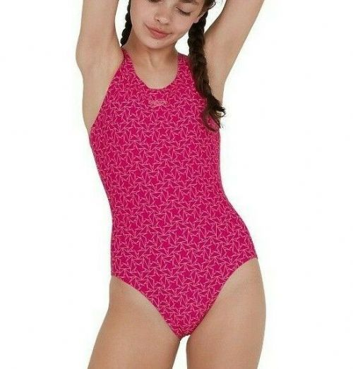 SPEEDO GIRLS SWIMSUIT.NEW BOOMSTAR ALLOVER MUSCLEBACK PINK SWIMMING COSTUME S20
